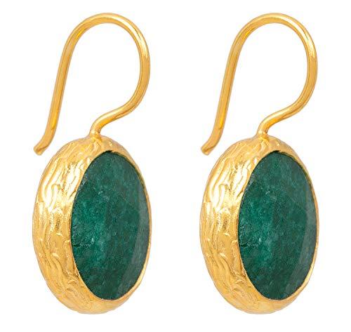 SARAH BOSMAN Pendientes para mujer con placa de oro verde jade – Pendientes redondos plateados chapados en oro con piedra preciosa verde – 16 mm de diámetro – SAB-E01GREJADg