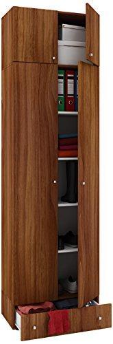 VCM Schrank Mehrzweckschrank Universal Dielenschrank Kleider kern-nussbaum 238x 70 x 40 cm