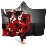 HATESAH Manta con Capucha,Composición con Vino Tinto en Copas,Rosa roja y...
