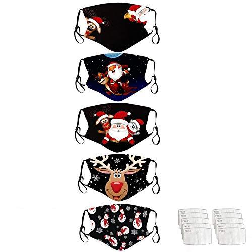 Lomelomme 5 Stück Mundschutz Waschbar mit Weihnachten Motiv Maske Bandana Lustige Multifunktionstuch Herren Damen Atmungsaktive Baumwolle Mund und Nasenschutz Staubdicht Motorrad Halstuch (G-4)