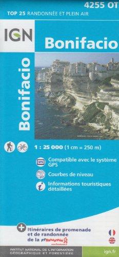 IGN 4255 OT Bonifacio (Córcega, Francia) 1:25.000 topográfico mapa de senderismo IGN