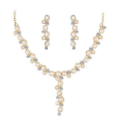 Yvelands Damen Perlenkette Ohrringe zweiteiliges Set Embellished Anhänger Strass Braut Set