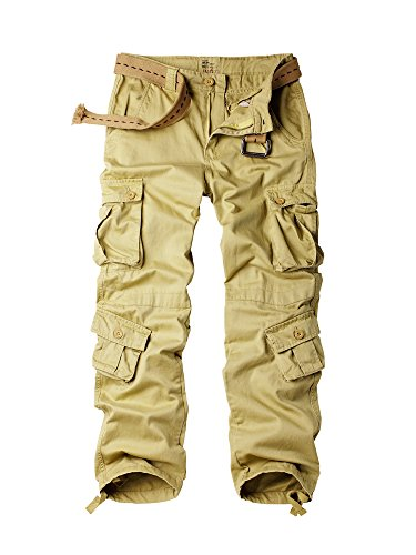 OCHENTA Cargo Pants Men, Military Tactical Work Combat 8 Pockets Casual Trousers #3357 Khaki 34