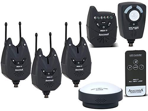 ANACONDA Nighthawk MGX-7 3er Bissanzeiger Set + Zeltlampe + Sensor, Bewegungsmelder, Funkbissanzeiger zum Karpfenangeln