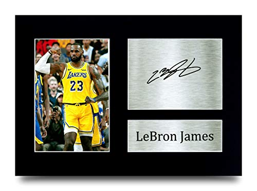 HWC Trading Lebron James Los Angles Lakers Gifts gedrucktes Autogramm für Basketball-Fans – A4