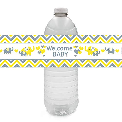 Yellow and Gray Elephant Baby Shower Water Bottle Labels - 24 Stickers
