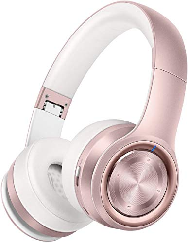 Picun P26 Bluetooth Headphones Over Ear 40H Playtime Hi-Fi Stereo Wireless Headphones Girl Deep Bass Foldable Wired/Wireless/TF for Phone/TV Bluetooth 5.0 Wireless Earphones with Mic Women (Rose Gold)
