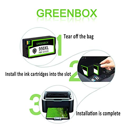 GREENBOX Compatible Ink Cartridge Replacement for HP 950XL 951XL 950 951 Used in Officejet Pro 8600 8610 8100 8620 8630 8640 8615 8625 8616 276DW 271DW 251DW(1 Black 1 Cyan 1 Magenta 1 Yellow 4 Pack) Photo #3