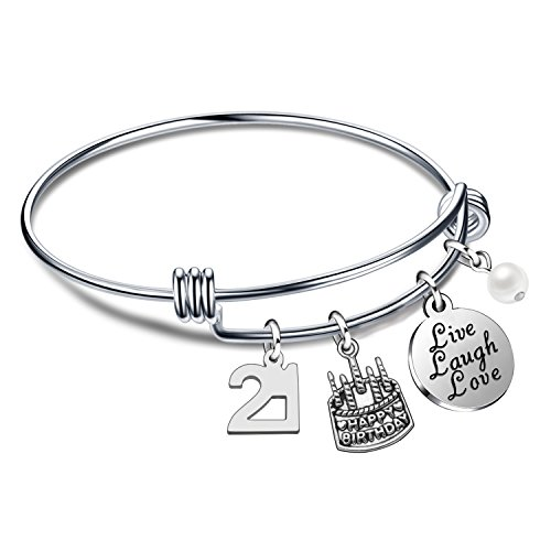 lauhonmin Birthday Gifts for Her Bangle Bracelets Live Laugh Love Charms for 13th 18th 21st 30th 40th 50th 60th (21st Birthday)