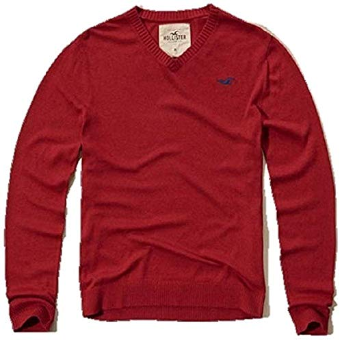 Hollister by Abercrombie Small S RED V-Neck Men's Sweater Jumper SZ S