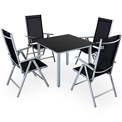 Deuba Conjunto de jardín 4+1 Aluminio Bern Juego de sillas Plegables...