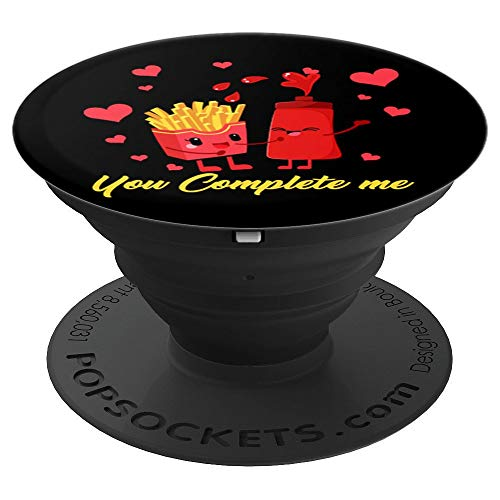 French Fries Ketchup Shirt Valentine Couple Food Complete PopSockets Grip and Stand for Phones and Tablets