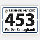 ► Numero Civico ESTERNO in Acrilico con Via - Targa PERSONALIZZATA - Plexiglas bianco 3mm | f.to 160x120 mm |