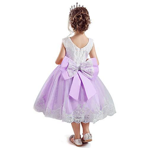 NNJXD Mädchen Spitze Stickerei Blume Prinzessin Brautkleid Größe (100) 2-3 Jahre 648 Lila-C