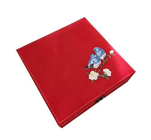 EHDFS Caja de joyería bordada antigua para collar, pendientes, anillos, pulseras, etc. Caja de almacenamiento doble