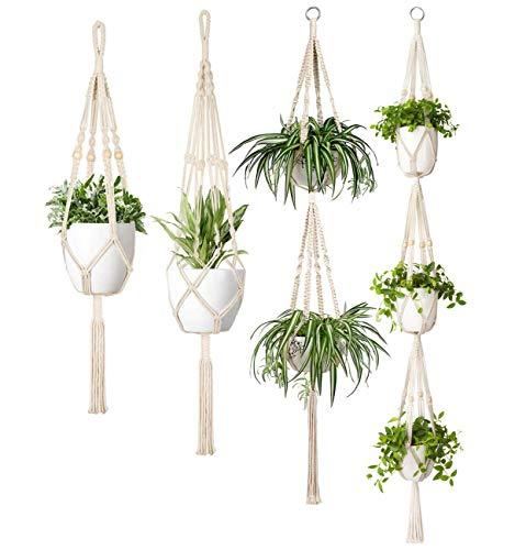 Mkouo Makramee Pflanzenhänger Set of 4 Innen Baumwollseil Hängender Pflanzer Korb Blumentopfhalter Boho Home Decor