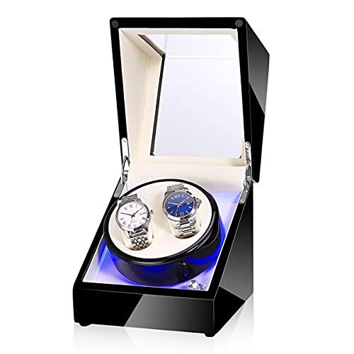 Caja De Relojes De Relojes Doble Reloj para Relojes Automáticos, Rotador Reloj con Luz LED, Rotación De Rotación (Color : B)