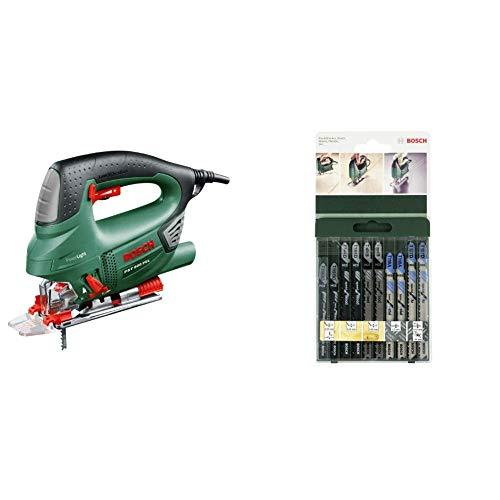 Bosch PST 900 PEL - Sierra de calar (620 W, en maletín) + Bosch 2 609 256 746 - Juego de hojas de sierra de calar de 10 piezas vástago en T