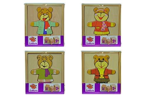 Eichhorn 100005401 - Bären-Puzzle, mit versch. Kleidungsstücken zum Wechseln, 4 verschiedene Motive, keine Motivauswahl möglich, Lieferumfang 1 Stk., FSC 100% Zertifiziertes Lindensperrholz