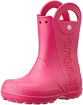 Crocs Kids  Handle It Rain Boots Easy On for Toddlers Boys Girls Lightweight and Waterproof Candy Pink 9 M US Toddler