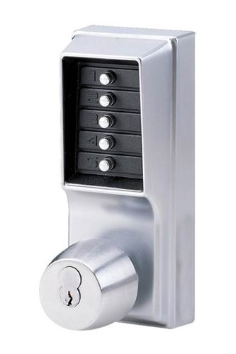 Kaba Simplex 1000 Series Combination Entry Cylindrical Mechanical Pushbutton Lock with Knob, Key Override and Passage, Cylindrical 13mm Throw Latch, Floating Face Plate, 70mm Backset, R/C Schlage, Core Not Included, Satin Chrome Finish