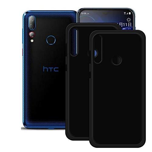 DQG Anti-Fall Schutzhülle für HTC Desire 19+/ Plus Hülle, 2 Stück Weiche Flexibel Handytasche Schwarz TPU Handyhülle Silikon Tasche Schale Hülle Cover für HTC Desire 19+/ Plus (6.2