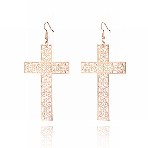 Nationale Persoonlijkheid kruis Oorbellen Accessoires voor Vrouwen Mode Punk Holle Patroon oor Haken, rosé goud