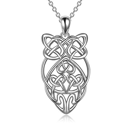 Celtic Owl Necklace for Women 925 Sterling Silver Owl Irish Necklace Jewelry Gifts for Women