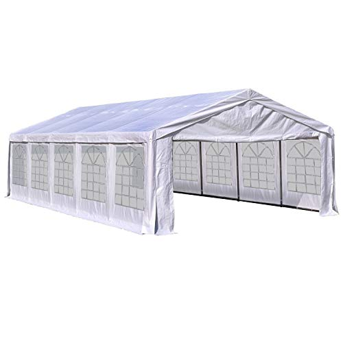 Outsunny 16' x 32' Commercial Party Capony Tent Heavy Duty Gazebo Carport with Removable Sidewalls, White