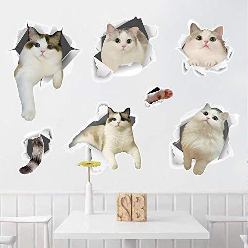 Cooldeer Cartoon Katze Kombination Schlafzimmer Wohnzimmer Entfernbarer Dekorativer Wandaufkleber