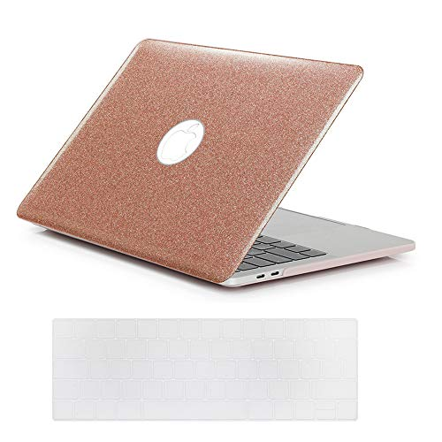 Se7enline New Mac book Pro 13 inch Case 2016/2017/2018/2019 Glitter Bling Laptop Cover for MacBook Pro 13 with/without Touch Bar Model A1708/A1706/A1989 with Keyboard Cover Skin, Shining Rose Gold