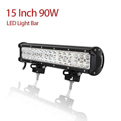 Willpower Barra Luces Led para Coche 38cm 90W Barra Led 4x4 12V IP67 Impermeable...