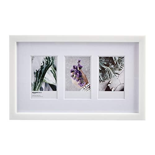 Amazon Basics - Marco de fotos de Instax, 3 huecos, 8 x 5 cm, color blanco