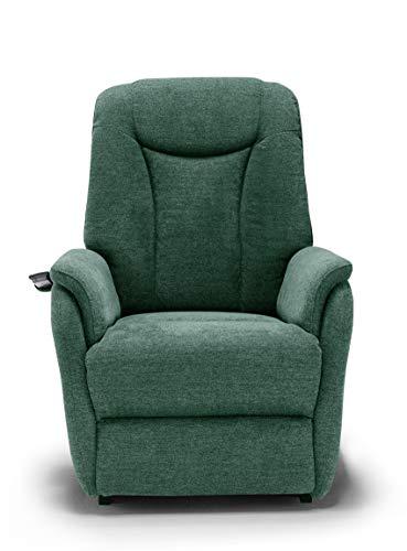 New Boston Poltrona Relax in Tessuto con Doppio Motore Movimento Elettrico con Funzione Alzapersona, Recrinabile e Posizione TV (Verde)