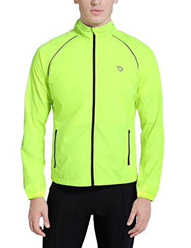 BALEAF Men's Cycling Running Jacket Windproof Windbreaker Breathable Coat Fluorescent Yellow Size L