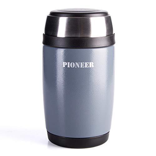 Pioneer Flasque boîte isotherme avec culière à double paroi pour Soupe et/ou Nourriture en acier inoxydable 18/10 – 0,58L, métallique gris, 8 heures chaud/ froid, antifuite