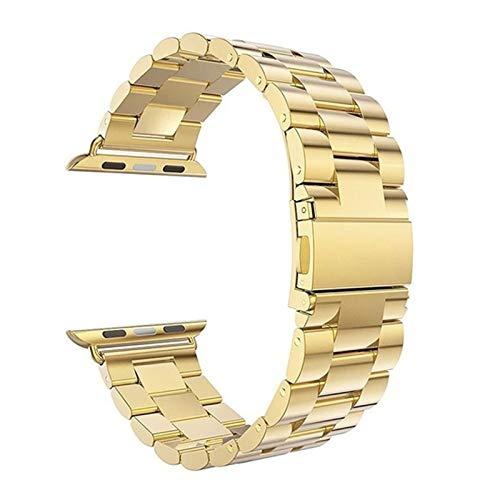 Strap de acero inoxidable de la banda de reloj para Apple Watch 6 5 4 3 2 1 banda 38mm 42mm banda deportiva para iWatch Series 5 4 3/2/1 40mm 44mm correa ( Color : Oro , Talla : 38mm or 40mm )