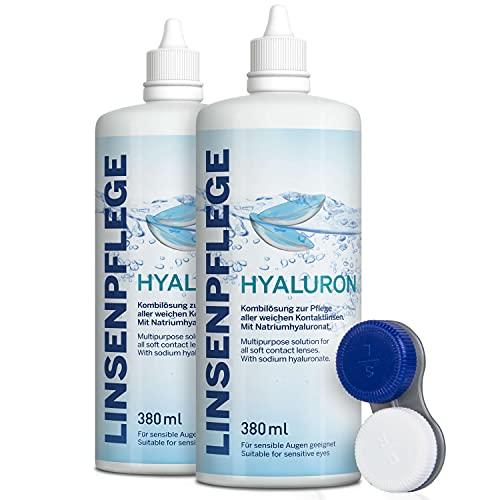 Linsenpflege Hyaluron 380 ml. Premium All-in-One Kombilösung mit Hyaluron für alle weichen Kontaktlinsen inkl. antibakteriellen Behälter