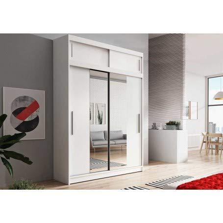 E-MEUBLES Armoire de Chambre avec 2 Portes coulissantes + avec Espace de Stockage supplémentarie + Miroir | Penderie (Tringle) avec étagères (LxHxP): 150x245x61 LARA 01 (Blanc + Blanc)