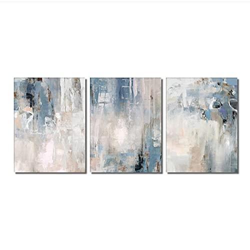 40x50cm x3 Piezas sin Marco Pintura de Lienzo Azul Abstracto Carteles nórdicos Impresiones Cuadro de Arte de Pared para la decoración del hogar de la Sala de Estar
