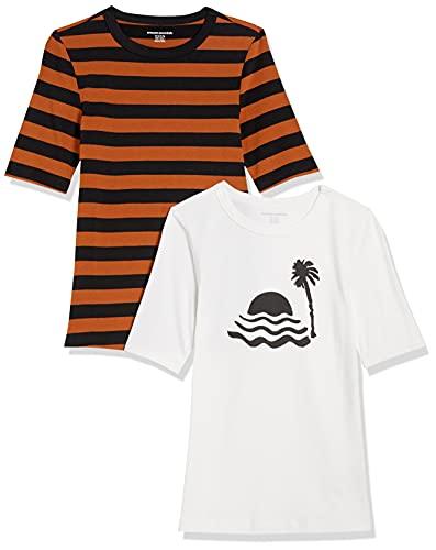 Amazon Essentials Camisetas de Manga Corta con Cuello Redondo y Ajuste Entallado, Paquete de 2 Blanco/mar y Palma/Negro/marrón a Rayas, XXL