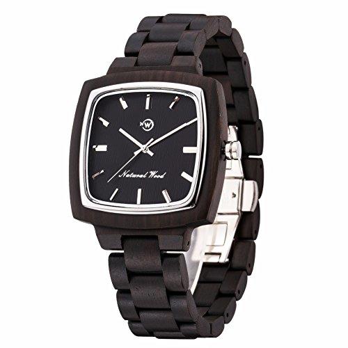 Herren Holzuhr Holz-Armbanduhr Klassik Swiss 763 Bewegung Analog Quarz Natürliche Echtholz Uhren mit Geschenkbox (Schwarzes Holz)