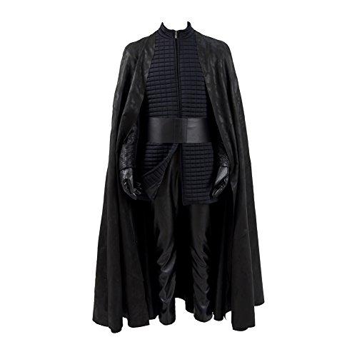 Jinlan Fuzhuang Kylo Ren Cosplay Kostüm Halloween PU-Ausstattungen mit Umhang für Männer (XXL, Schwarz)