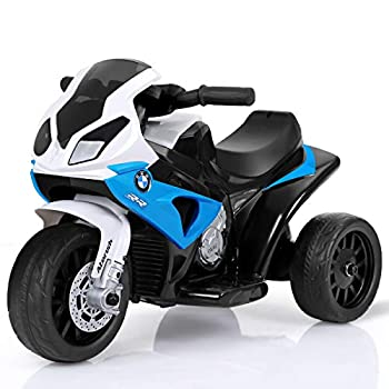 HONEY JOY Kids Ride On Motorcycle 6V Battery Operated 3 Wheels Toy Tricycle with Headlight & Music Foot Pedal Electric Motorized Bicycle for Boys Girls  Blue