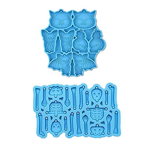 JIUYECAO Pendientes de murciélago de cráneo molde de silicona, 2 unidades/set de cráneo pendientes de murciélago de resina molde de oreja colgante de silicona