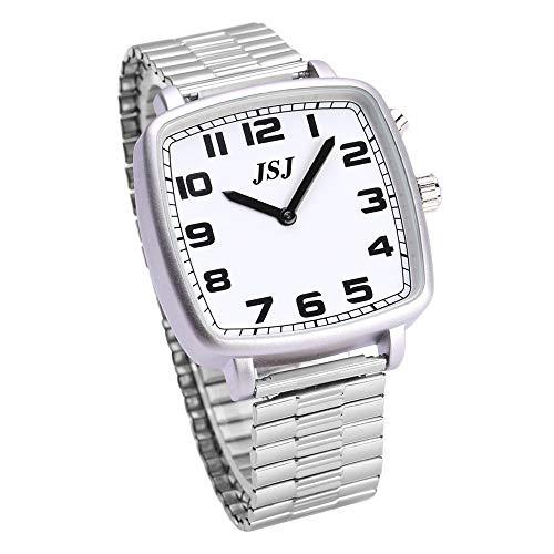 Reloj de pulsera parlante en alemán, cuadrado, con función de despertador, función de voz, hora y fecha, esfera blanca, correa de acero inoxidable TGSW-1703G