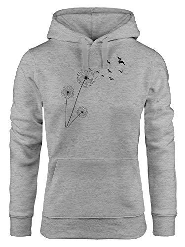 Neverless® Hoodie Damen Pusteblume Vögel Dandelion Birds Kapuzen-Pullover Kapuzenpulli grau L