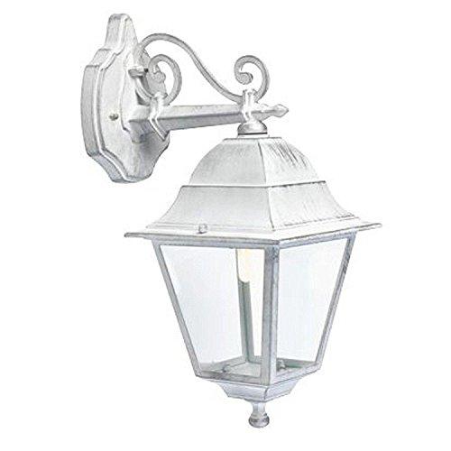 lampada da parete shabby Applique in basso classica lampada da parete per esterno bianco-argento