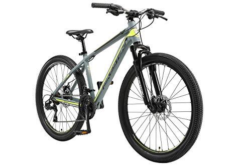 BIKESTAR Hardtail Mountain Bike in Alluminio, Freni a Disco, 26' | Bicicletta MTB Telaio 16' Cambio Shimano a 21 velocità, sospensioni | Grigio Giallo