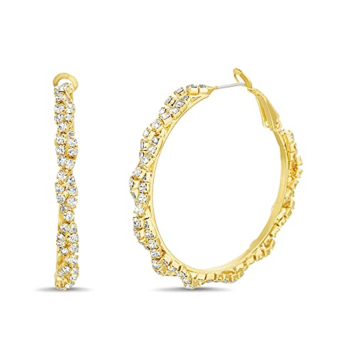 Badgley Mischka Pendientes de aro torcidos de diamantes de imitacin amarillo